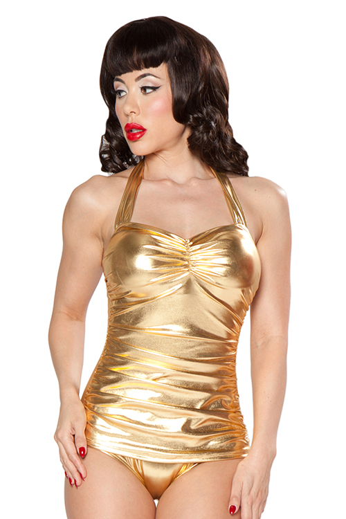 4840103d326 Esther Williams Classic Sheath Swimsuit in Glitz Gold - Dee Foreman